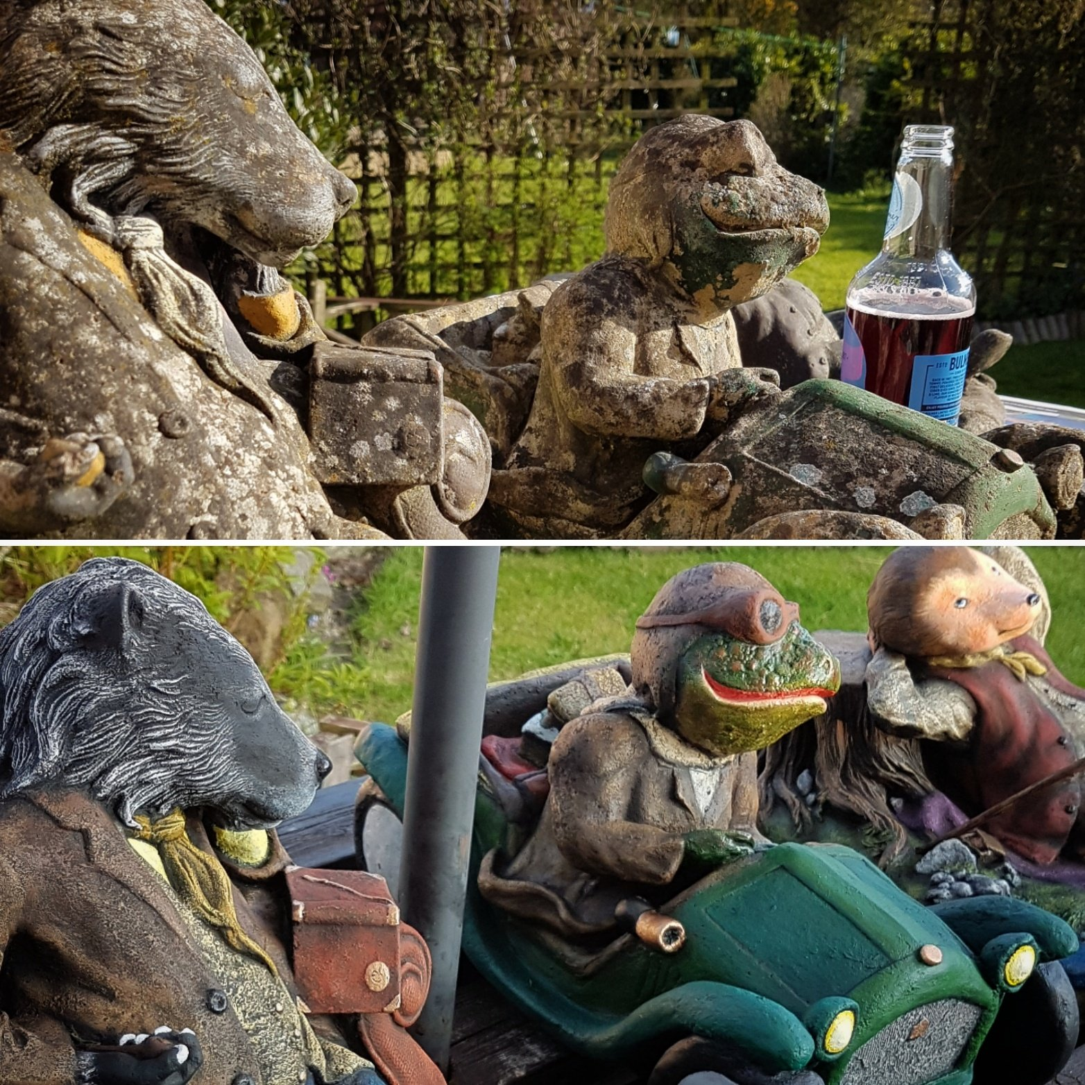 Before and After pic of restored garden ornaments