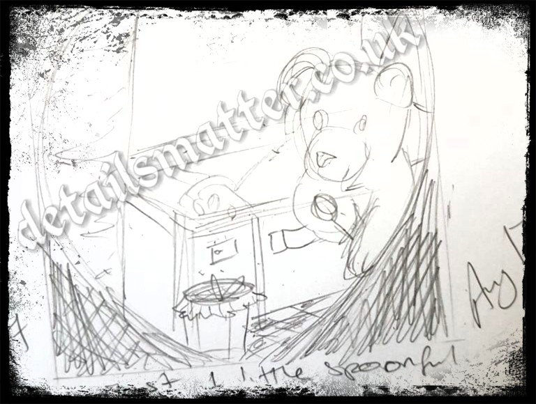 Sketch of teddy in woods sitting in picnic case longingly looking at honey jar holding a spoon